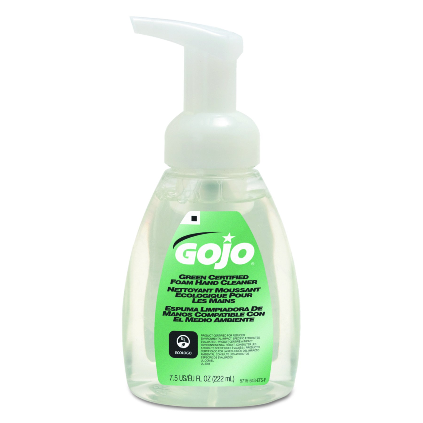 GOJO 571506CT Green Certified Foam Soap, Fragrance-Free, Clear, 7.5 oz. Pump Bottle (Pack of 6) by Gojo