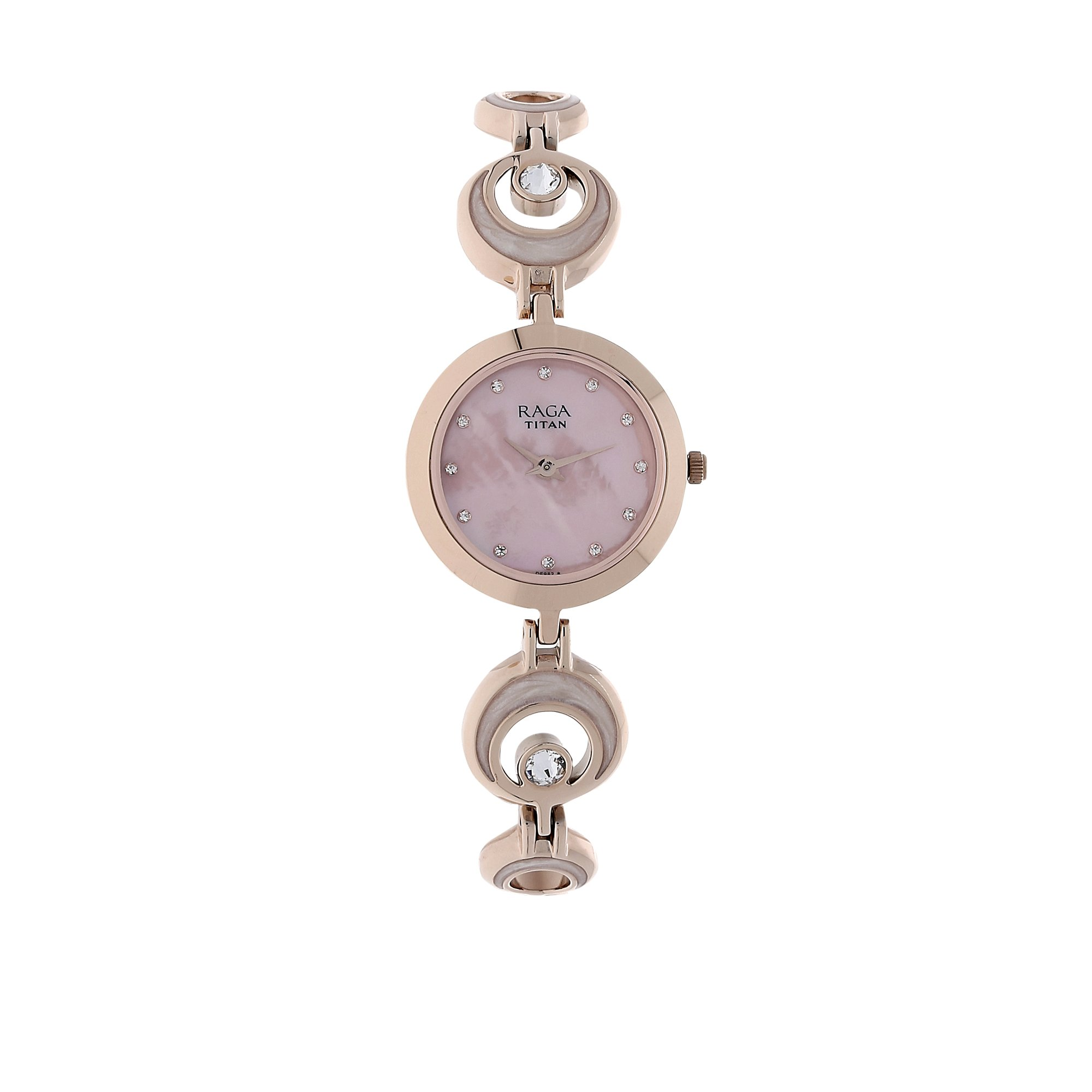 Titan Raga Aurora ,Swarovski Crystal, Mother of Pearl Dial, Gold/Silver/Brass Metal, Jewellery Design, Bracelet Style,Buckle Clasp Designer, Quartz Glass, Water Resistant Wrist Watch