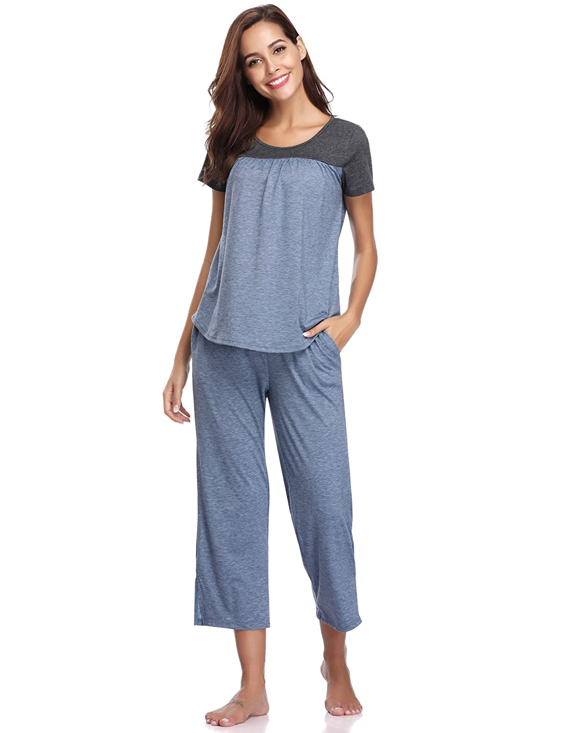 Aibrou Ladies Cotton Pyjamas Set, Short Sleeve Top T-Shirt & Cropped Pants Bottom, Loose Sleepwear Nightwear PJS