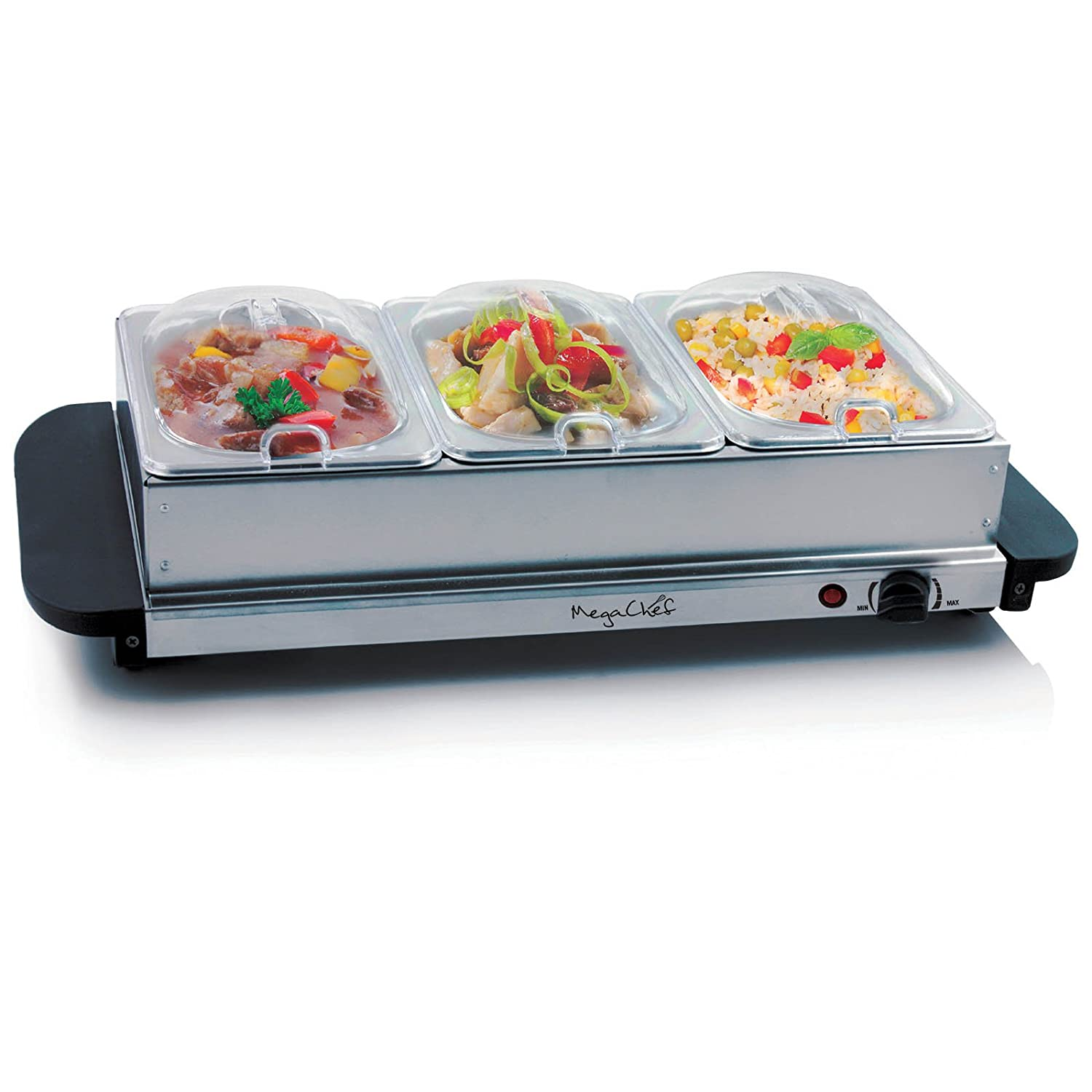 MegaChef Buffet Server & Food Warmer With 3 Removable Sectional Trays, Heated Warming Tray and Removable Tray Frame MC-9003B