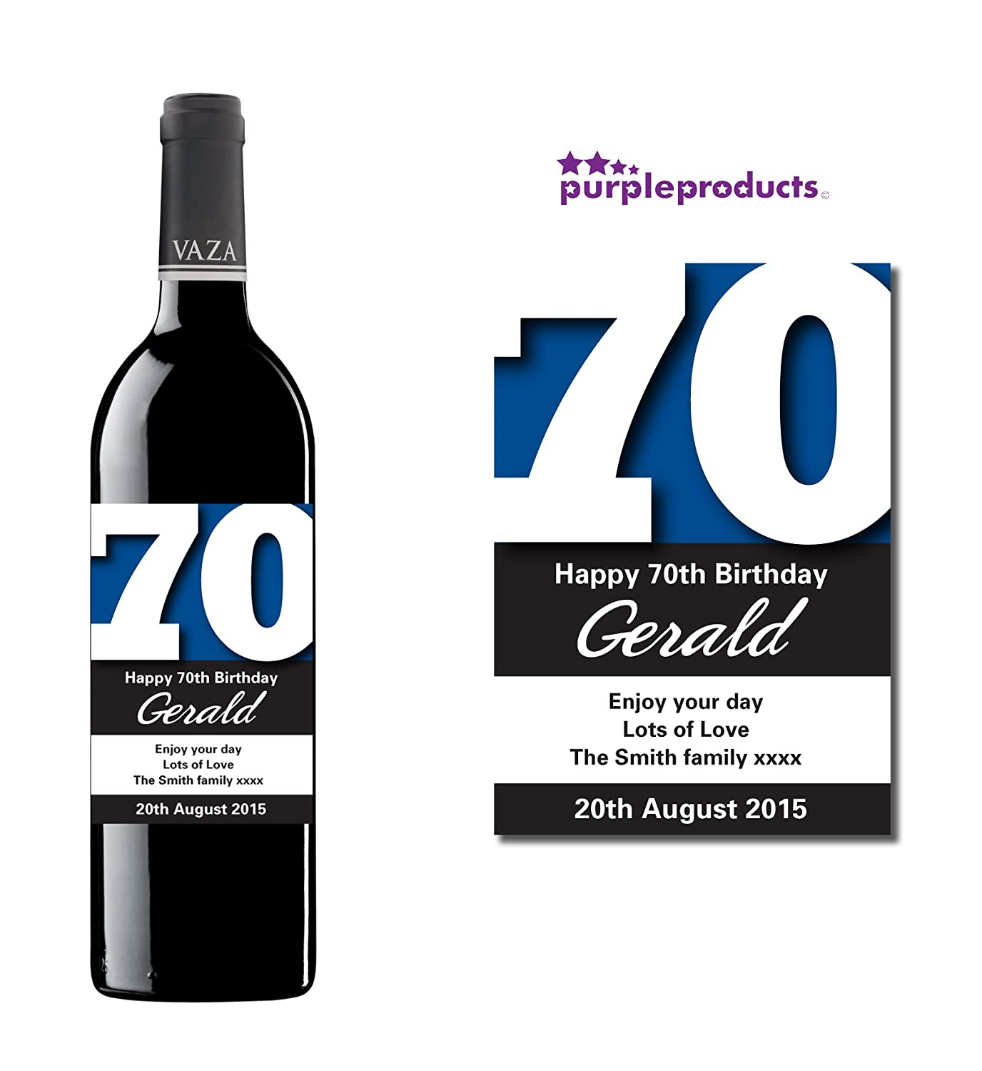 Personalised Blue 70th Birthday Wine Bottle Label Gift for Women and Men