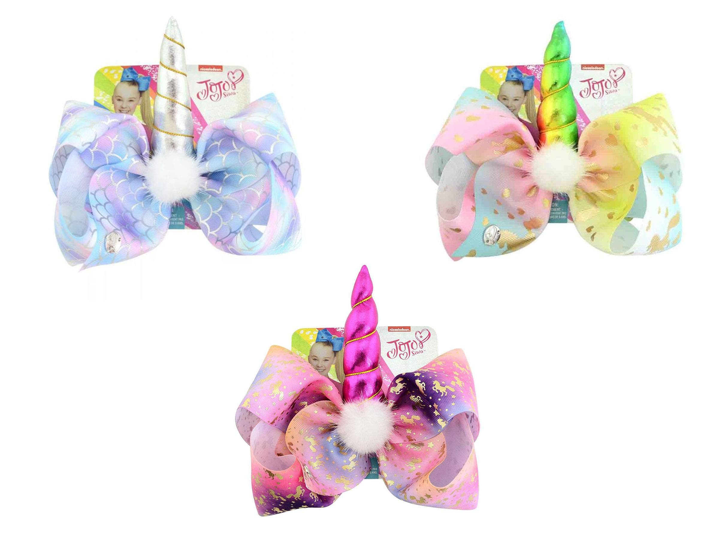 JoJo Siwa Bow Unicorn Hair Clip Signature Collection Color Transcendent Bows Set Of 3✨✨✨ Comes With 3 Different Styles JoJo Siwa Birthday Party Set A Must Have For All JoJo Siwa Fans ✨✨ by goldenxchange