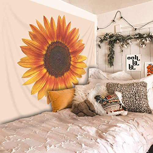 Riyidecor Yellow Sunflower Tapestry 91Wx71L Inch Fresh Tapestry Spring Painting Flower Floral Tapestry Beauty Blossom Light Orange Background Wall Hanging Indigenous Bedroom Living Room