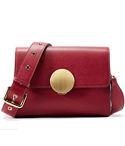a56c4181f151 EMINI HOUSE Influencer Vintage Flap Shoulder Bag with Round Hardware  Closure Women Bag-Wine Red