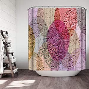Fabric Shower Curtain 3D Crinkled Paper Effect Abstract Sea Turtle Circle Purple Red Yellow Mauve Home Decor Machine Washable Shower Curtain Bath Room Decor Bath Curtain 72 x 72 inches