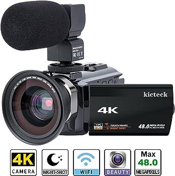 kicteck 4KMW 4K UHD Micro SD/SDHC Wi-Fi Camcorder