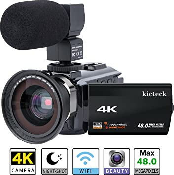 Amazon Com Video Camera Camcorder 4k Kicteck Ultra Hd Digital Wifi Camera 48 0mp 3 0 Inch Touch Screen Night Vision 16x Digital Zoom Recorder With External Microphone And Wide Angle Lens 2 Batteries 4kmw