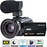 Video Camera Camcorder 4K kicteck Ultra HD Digital WiFi Camera 48.0MP 3.0 inch Touch Screen Night Vision 16X Digital Zoom Recorder with External Microphone and Wide Angle Lens,2 Batteries(4KMW)