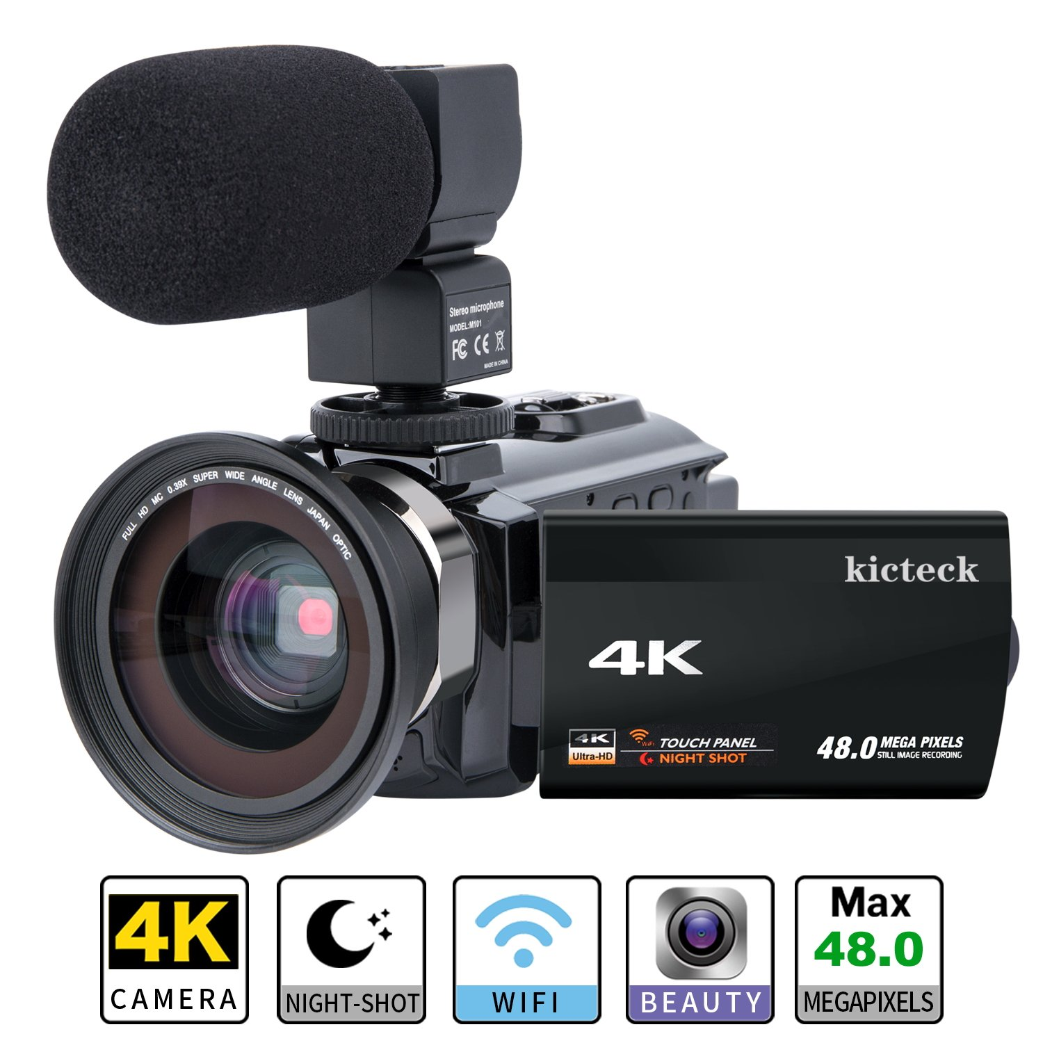 Video Camera Camcorder 4K kicteck Ultra HD Digital WiFi Camera 48.0MP 3.0 inch Touch Screen Night Vision 16X Digital Zoom Recorder with External Microphone and Wide Angle Lens,2 Batteries(4KMW) by kicteck