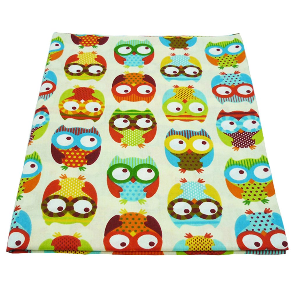 One Piece 19.7x63 Cute Colorful Owl Printed 100% Cotton Fabric for Baby Bedding Textile Patchwork Quilt Sewing Fabric by The Yard BYY FABRIC FACTORY