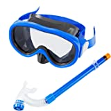 Kids / Children Snorkel Set, Swimming Goggles Semi-dry Snorkel Equipment for Boys and Girls Junior Snorkeling Gear Age 5 Plus