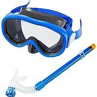 Kids/Children Snorkel Set, Swimming Goggles Semi-Dry Snorkel Equipment for Boys and Girls Junior Snorkeling Gear Age 4…