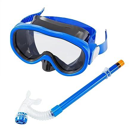 SKL Knder Schnorchelset Taucherbrille mit Schnorchel Tauchmaske & Schnorche Dry Schnorchel Schnorchelmaske inklusive Ausblasv
