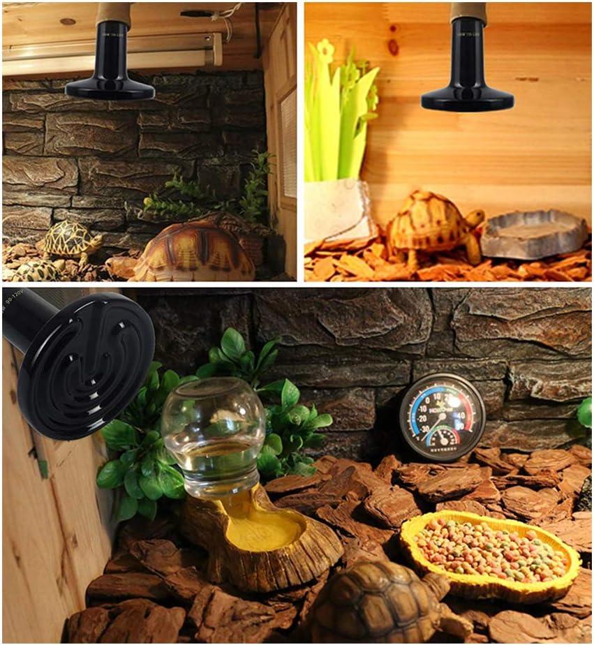 2 pcs L/ámpara de calor de cer/ámica para reptiles,Bombilla emisora de calor lejano infrarroja no liviana,Luz de aislamiento infrarrojo lejano,Para lagartos//Tortuga//Pollo,E27 AC 75W-220V