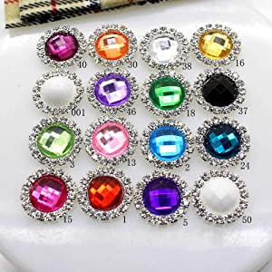 10Pcs/Lot 16MM Rhinestone Buttons Acrylic Diamond Button Invitation gail Hair Bowknot Flower Accessory,18