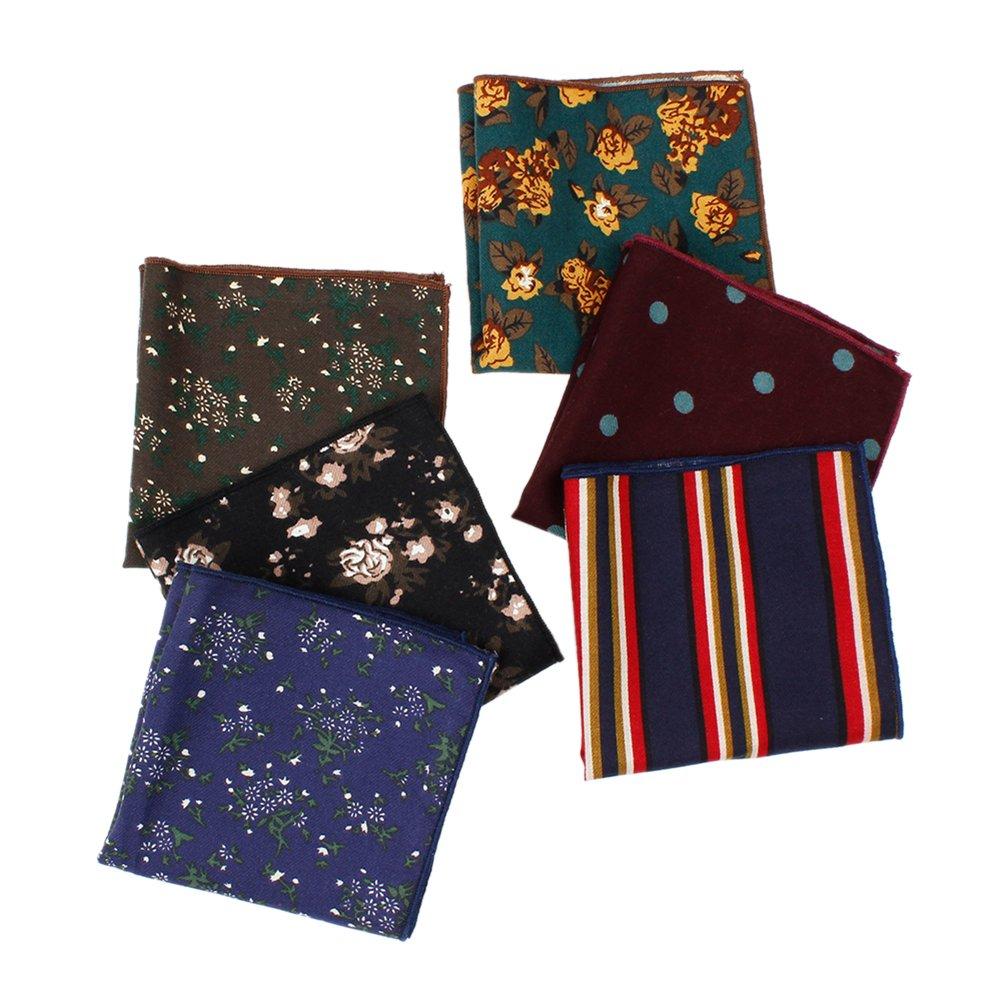 Houlife Men's Cotton Vintage Floral Pattern Pocket Square Handkerchief for Wedding