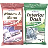 Car Pride interior dash wipes and window & mirror wipes - 40 wipes of each