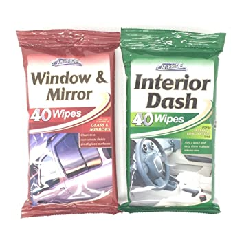 Toallitas limpiasalpicaderos de la marca Car Pride, para el interior del coche, las ventanas y los espejos. 40 toallitas de cada tipo: Amazon.es: Coche y ...