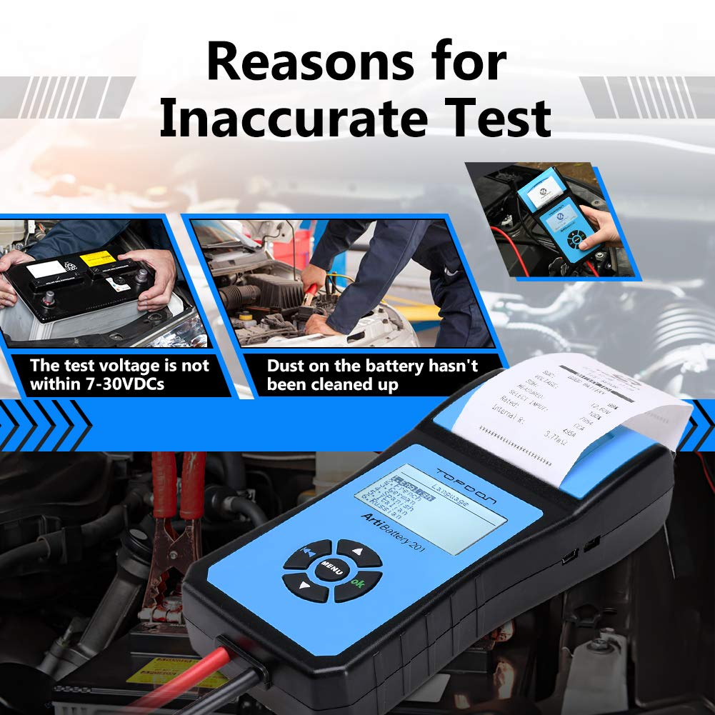 Battery Tester TOPDON AB201 Battery Analyzer 12V/24V 100-2000 CCA with Cranking/Charging/Battery Tests, Data Printing/Export/Review Functions for DIYers and Garages Battery Load Tester –Black and Blue by TT TOPDON (Image #8)