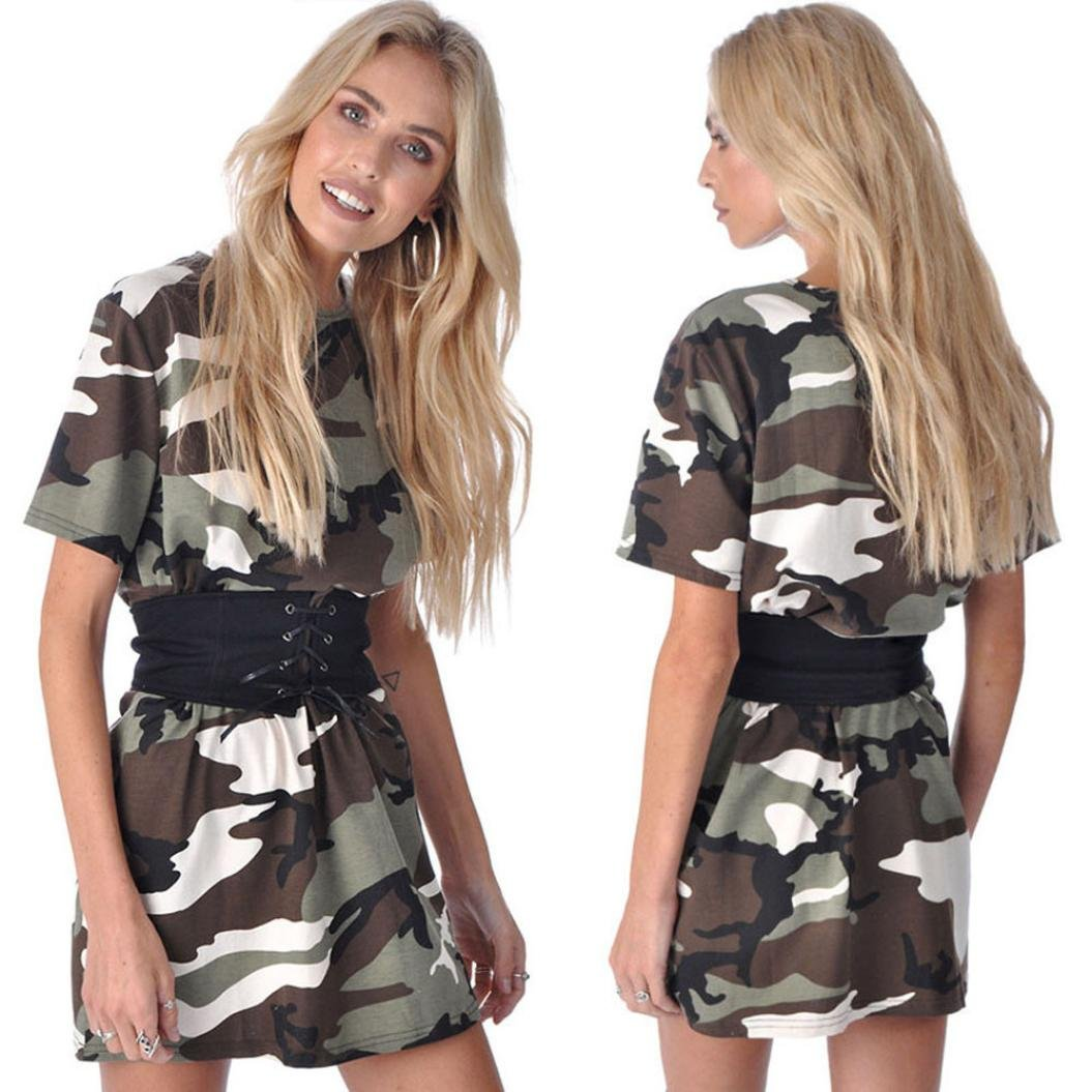 Gotd Women Camouflage Dress Short Sleeve Party Cocktail Short Mini Dress With Belt (S, Camouflage)