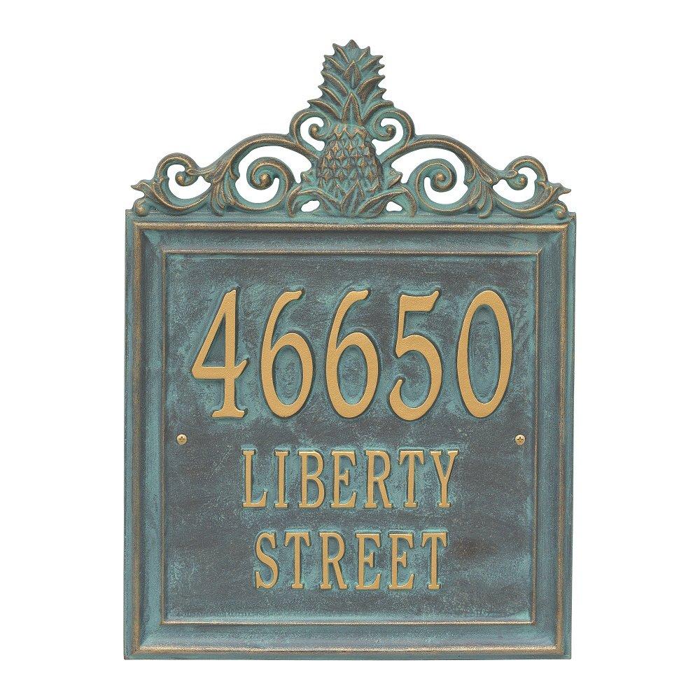 "Custom Lanai Pineapple Estate Address Plaque 19""H (3 Lines)"
