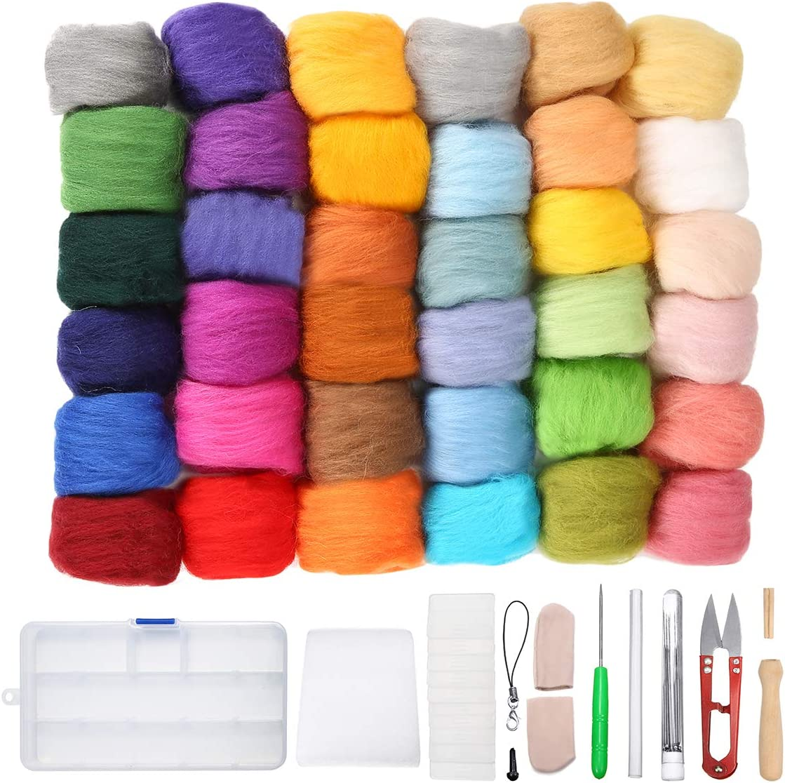 Complete Needle Felting Starter Kit with Basic Felt Tools and Supplies Wool Fibre Hand Spinning DIY. Anpro Needle Felting Kit 45 Colors Wool Roving Roving Felting