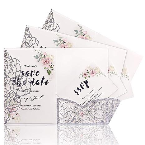 Highyi Laser Cut Wedding Invitation Card Sliver Glitter Paper 3 Folds Greeting Card For Engagement Birthday Baby Shower Dinner Diy Blank Inner Sheet