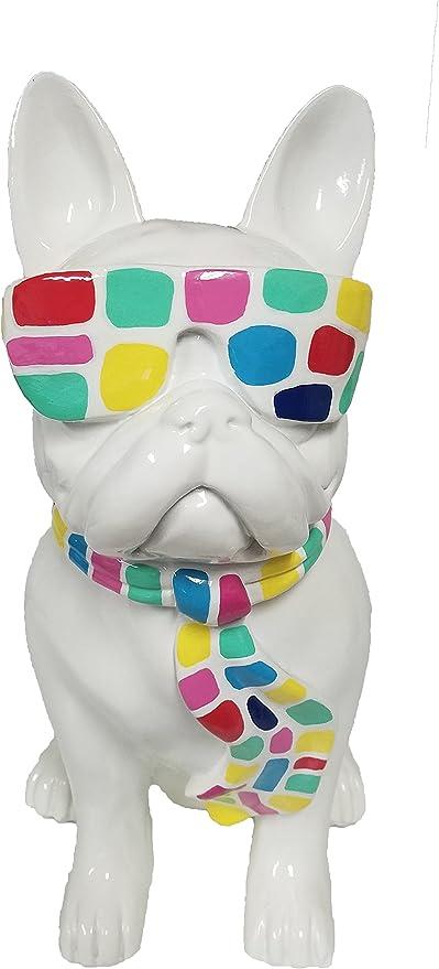 EVIDECO infinytoon Sentado Bulldog Gafas y Corbata Figura Resina ...