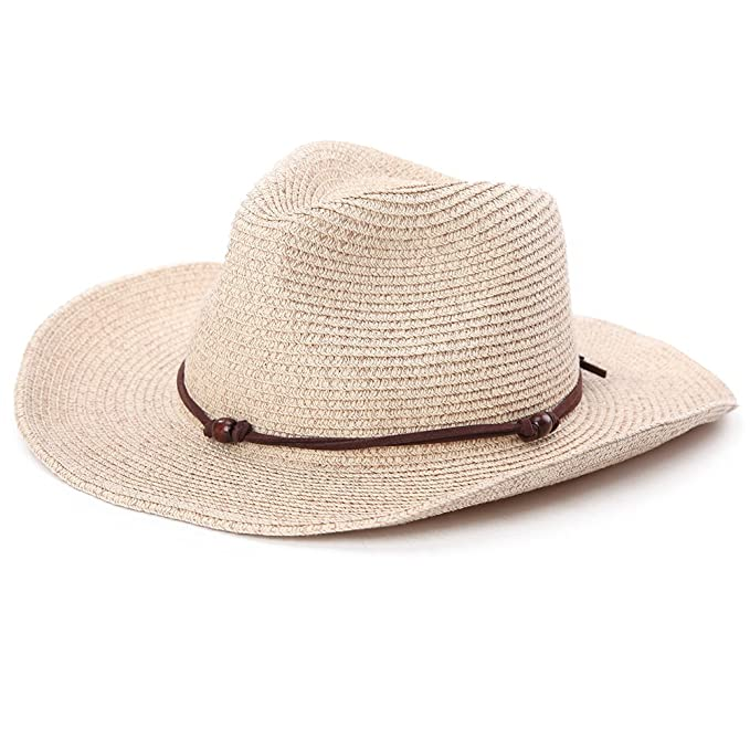 7948e79321225 Fancet Mens Mexican Cowboy Hat Pacakable Western Straw Strap for Women  Country Costume Beige 59cm