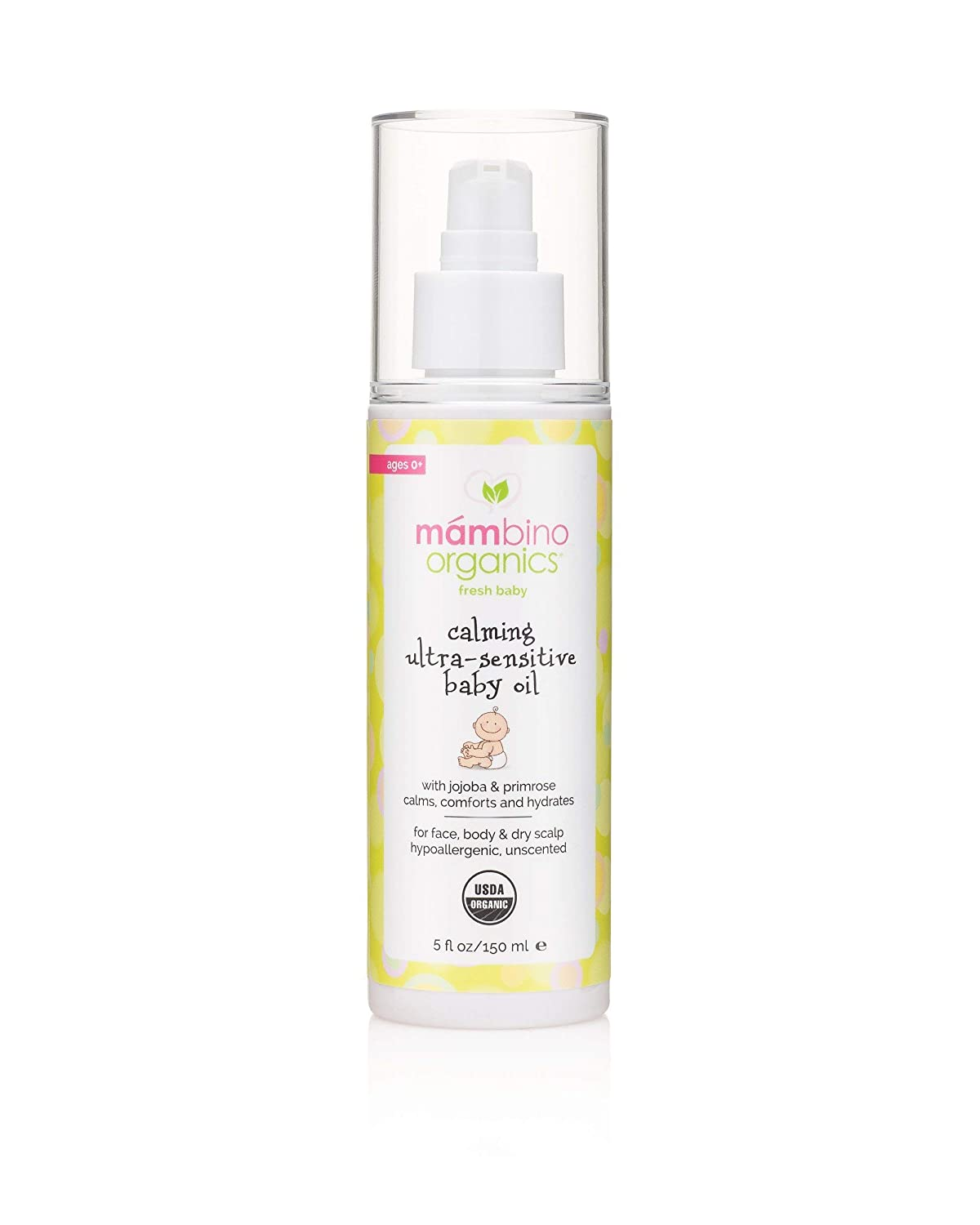 Mambino Organics Calming Ultra-Sensitive Soothing Oil Unscented – All Natural Fragrance Free with Jojoba & Evening Primrose Oil - 5 Fluid Ounces
