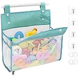 Bath Toy Organizer Multiple Ways to Hang, Extra Large Opening Bathroom Toy Holder, Bottom Zipper Bathtub Toy Storage Bag (Blu
