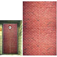 Platform 9 And 3/4 King's Cross Station, Curtains Door for Harry Potter, Red Brick Wall Party Backdrop, Party Supplies…