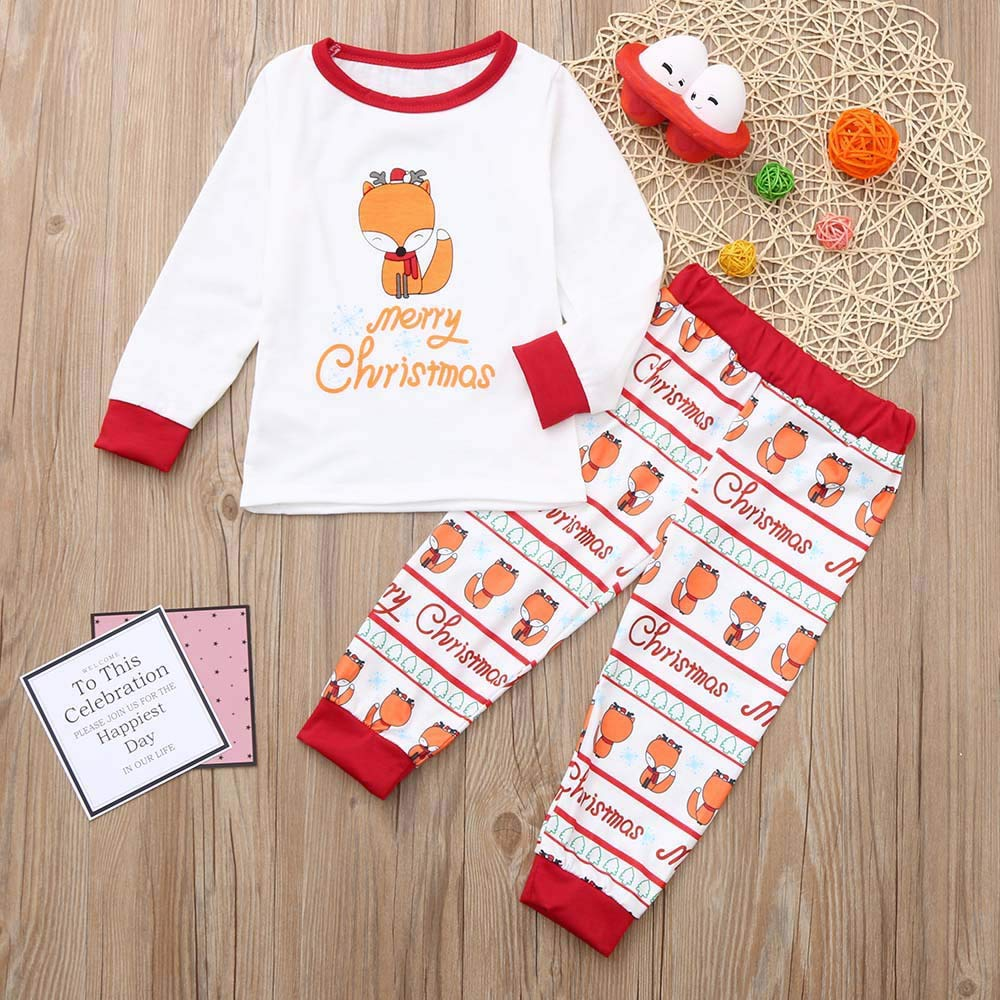 Kids Baby Christmas Outfit Set Boys Girls 3-8 Years,Xmas Fox Print Patterns/Bodysuit Top Pant Clothes Set