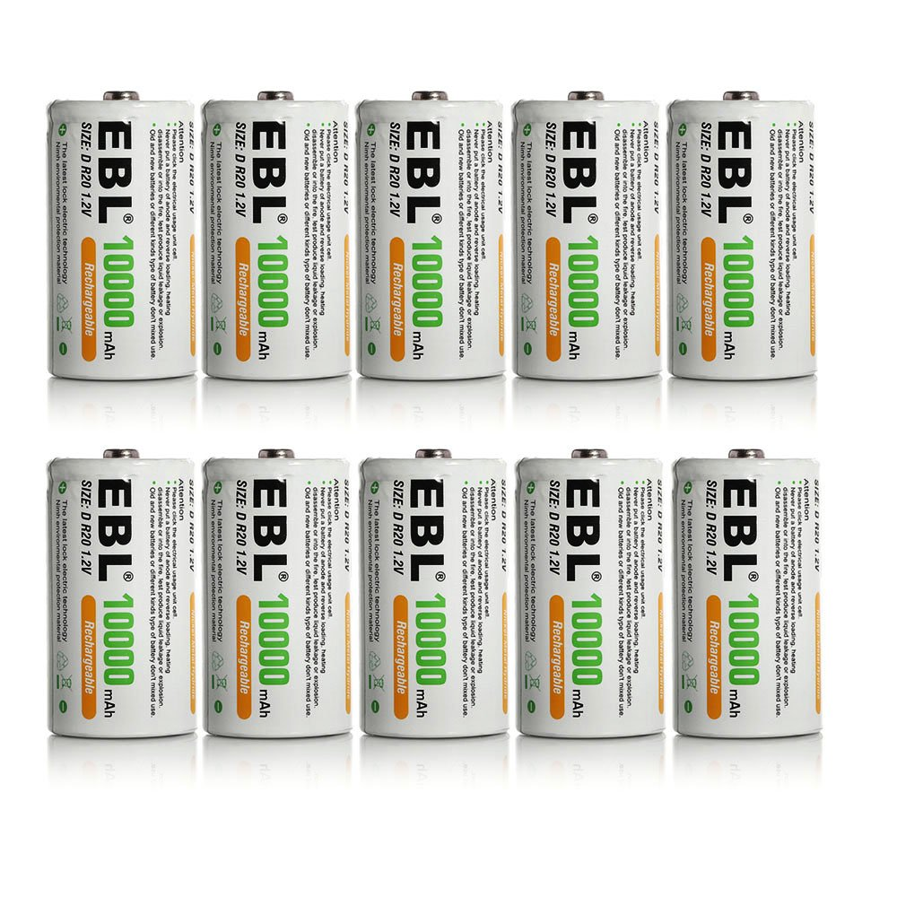 EBL 10 Pack D Size D Cell 10,000mah High Capacity High Rate NiMH Rechargeable Batteries by EBL