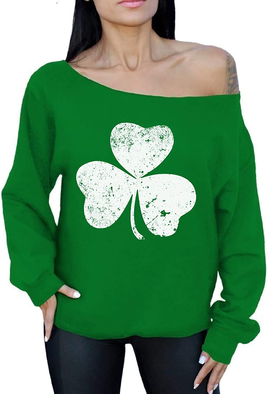 Awkwardstyles Irish Off The Shoulder Oversized Sweatshirt St Patricks Day G