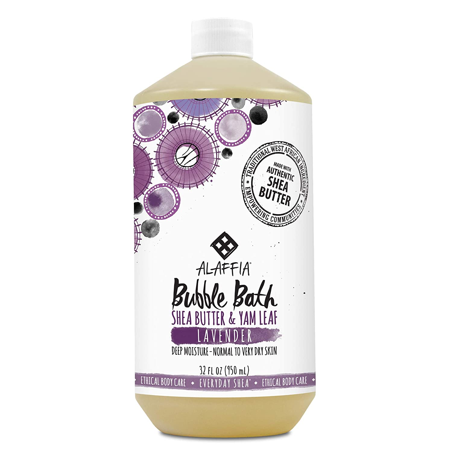 Alaffia - Everyday Shea Bubble Bath, For All Skin Types, Soothing Support for Deep Relaxation and Soft Moisturized Skin with Shea Butter and Yam Leaf, Fair Trade, Lavender, 32 Ounces (FFP)