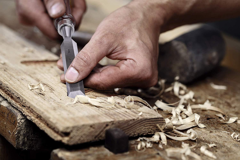 EZARC 6pc Wood Chisel Set for Woodworking - CRV Steel with Black Walnut Handle in Wood Storage Box ... by EZARC (Image #7)