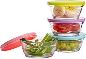 Small Glass Storage Containers with Lids, Stackable Bowls, Set of 4 with Multi-Colored BPA Free Lids for Cooking Prep, Sauce, Custard, Snack, Condiments, 8.5 oz Capacity