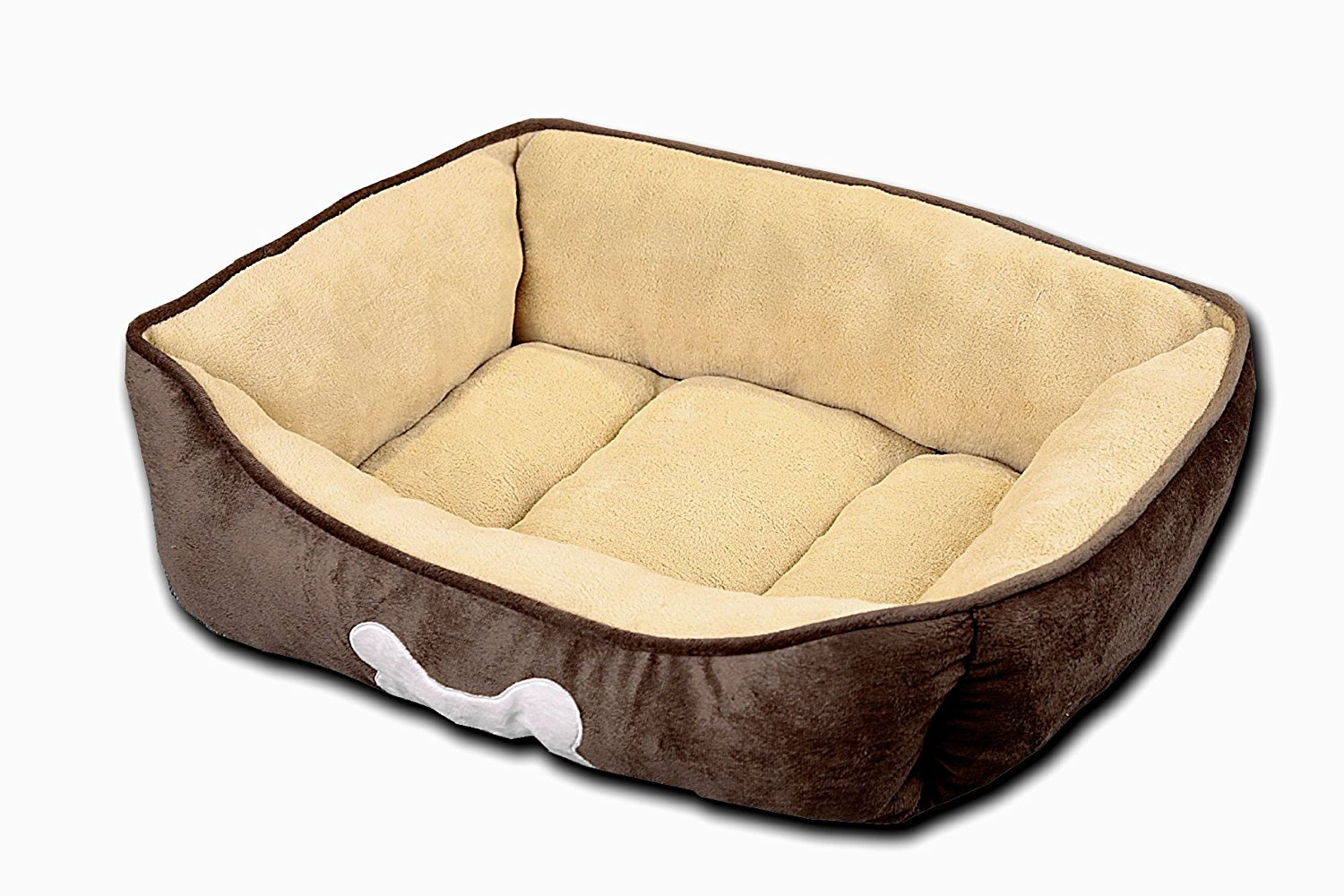 HappyCare Textiles HCT REC-002 Rectangle Classic Solid Dog and Pet Bed, Large, Chocolate