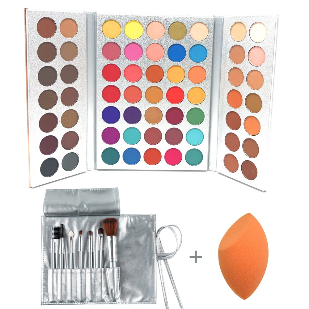 Beauty Glazed Professional Makeup 63 Colours EyeShadow Palette Powder With Profession Makeup Brushes Set and Powder Blender Gorgeous Me Cosmetics Perfect Color Eye Shadow Tray Set
