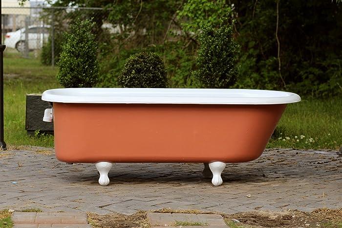 Large 1920u0027s Refinished 5.5u0027 Clawfoot Bathtub Red Earth Cast Iron Porcelain  Antique Tub Package