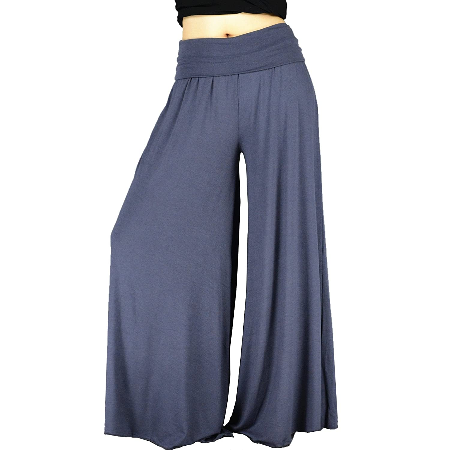 YSJ Women's Fold Over Waist Palazzo Yoga Lounge Pants Wide Leg Culottes Trousers 0064