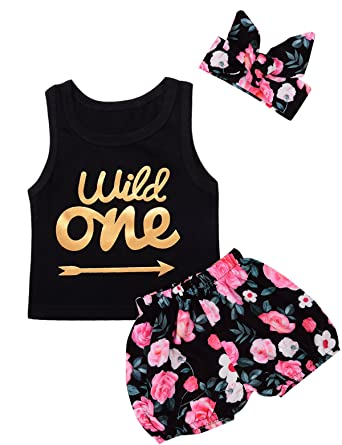 be9ae9bbff85 Giwawa 3Pcs Baby Girls Floral Vest Skirt Outfit Set with Headband Black