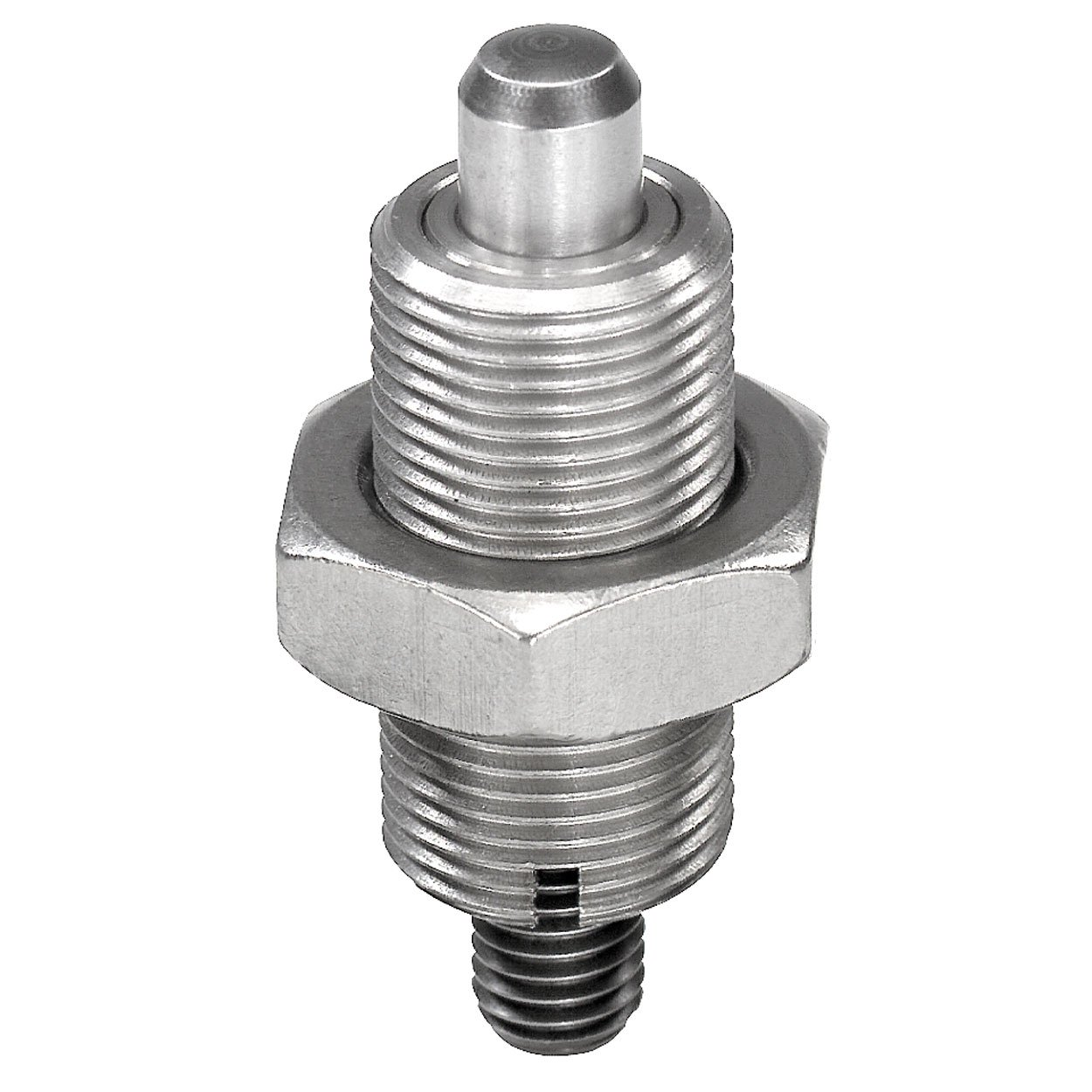 KIPP 03096-02412AO STAINLESS STEEL INDEXING PLUNGERS WITHOUT COLLAR THREADED PIN K STYLE LOCKING PIN HARDENED INCH 3   4-16 THREAD 66 MM LENGTH