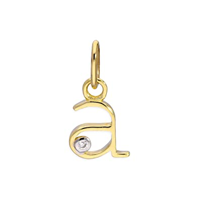 f9443808f295a 9ct Yellow Gold 0.4pts Diamond Alphabet Letter Pendant A - Z