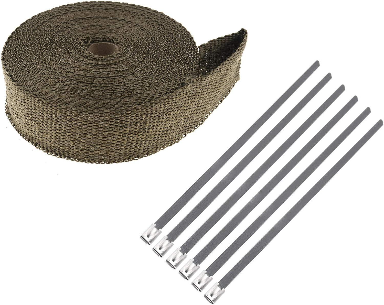 ENET Tuyau d/échappement Ruban Isolant Titanium Wrap Collecteur Marron Isolant Starp Attaches de c/âble