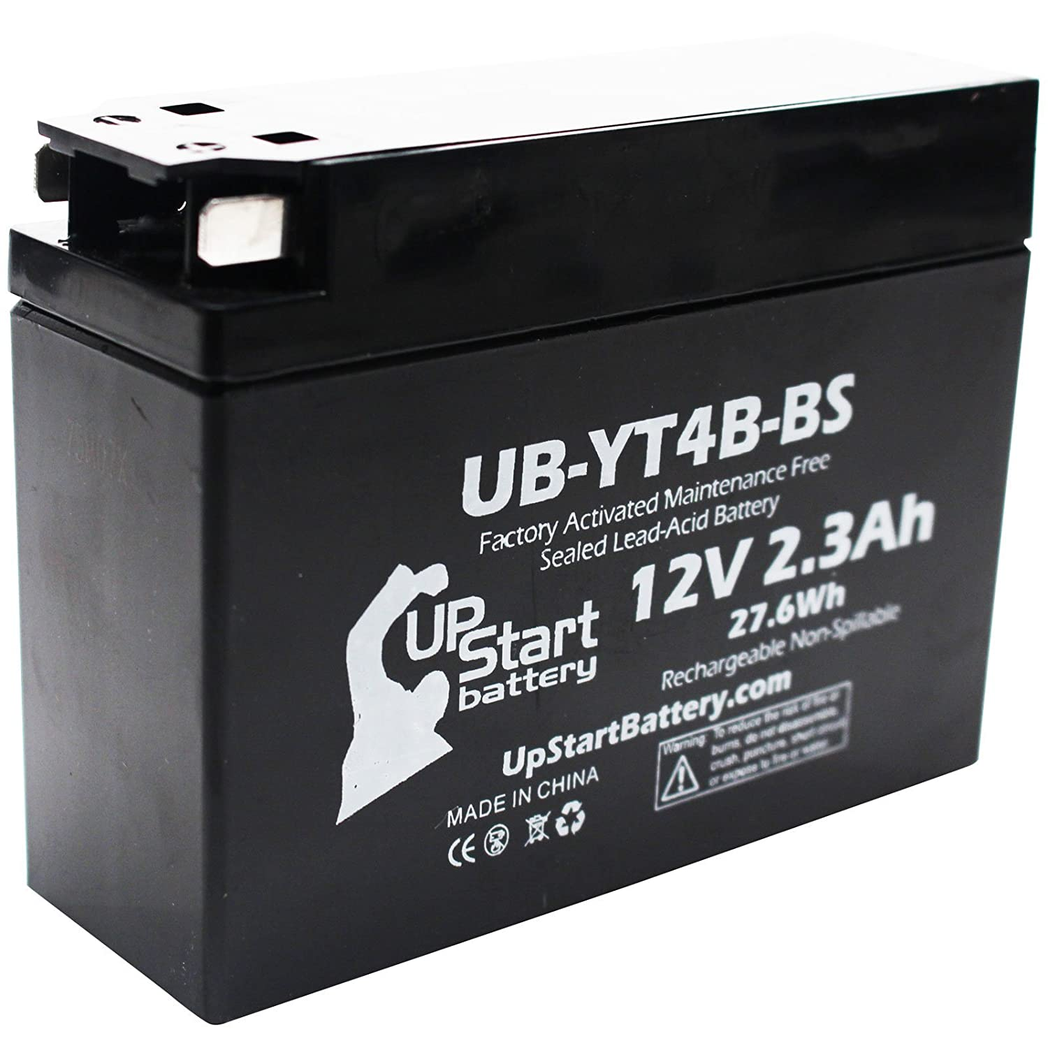 Replacement 2006 Yamaha TTR50E 50CC Factory Activated, Maintenance Free, Motorcycle Battery - 12V, 2.3Ah, UB-YT4B-BS Upstart Battery UB-YT4B-BS-DL3