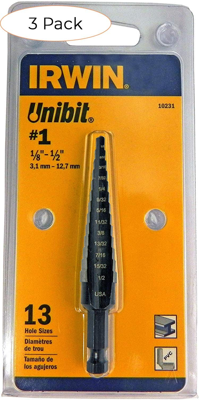 "Unibit1T Titanium Nitride Coated 1//8/"" to 1//2/""by 1//4/""Shank Step Drill Bit Irwin"