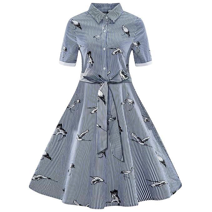 buy popular a6cae 1e9ae LINNUO Shirt Vestito Mezza Manica Righe Vestito Abiti Tunica ...