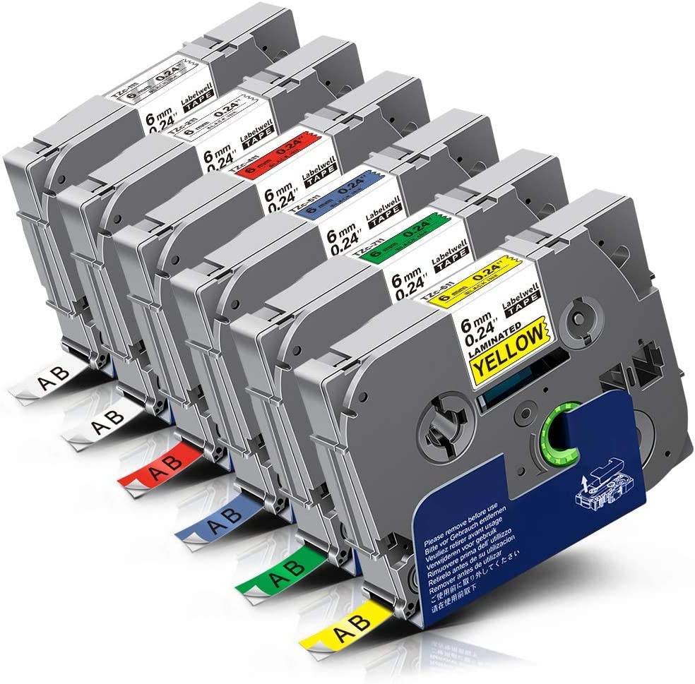 Labelwell 6 Pack Color 6mm x 8m Compatible Brother Tze-111 Tze-211 Tze-411 Tze-511 Tze-611 Tze-711 Laminated Label Tape for Brother P-Touch PT H101C H110 H105 2030VP P750W E100 H101GB D210VP Printer